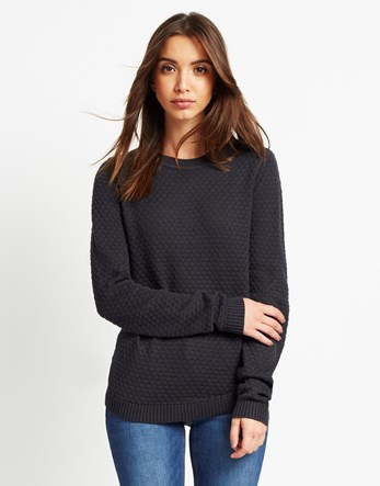 Knit Top - pattern: plain; style: standard; predominant colour: charcoal; occasions: casual; length: standard; fibres: cotton - mix; fit: standard fit; neckline: crew; sleeve length: long sleeve; sleeve style: standard; texture group: knits/crochet; pattern type: knitted - other; season: a/w 2016