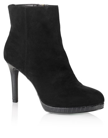 Platform Mid Heel Boots - predominant colour: black; occasions: casual; material: suede; heel height: high; heel: stiletto; toe: round toe; boot length: ankle boot; style: standard; finish: plain; pattern: plain; season: a/w 2016; wardrobe: highlight
