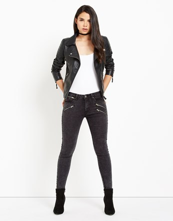 Multi Zip Skinny Jeans - style: skinny leg; length: standard; pattern: plain; waist: mid/regular rise; predominant colour: charcoal; occasions: casual; fibres: cotton - stretch; texture group: denim; pattern type: fabric; season: a/w 2016