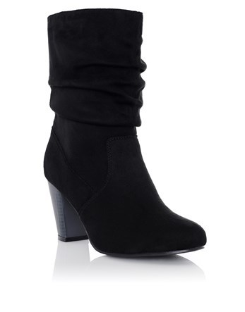 Medium Heeled Boots - predominant colour: black; occasions: casual; material: suede; heel height: mid; heel: block; toe: round toe; boot length: mid calf; style: standard; finish: plain; pattern: plain; wardrobe: basic; season: a/w 2016