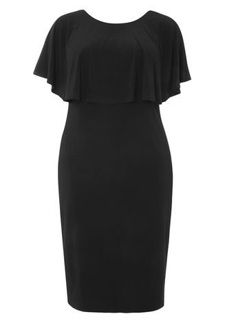 Black Overlay Midi Dress - style: shift; neckline: round neck; sleeve style: angel/waterfall; pattern: plain; predominant colour: black; occasions: evening, occasion; length: on the knee; fit: body skimming; fibres: polyester/polyamide - stretch; sleeve length: short sleeve; pattern type: fabric; texture group: other - clingy; season: a/w 2016