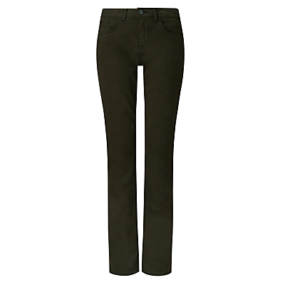 Windsor Brushed Cotton Jeans, Khaki - style: straight leg; length: standard; pattern: plain; pocket detail: traditional 5 pocket; waist: mid/regular rise; predominant colour: khaki; occasions: casual; fibres: cotton - stretch; texture group: denim; pattern type: fabric; season: a/w 2016; wardrobe: highlight