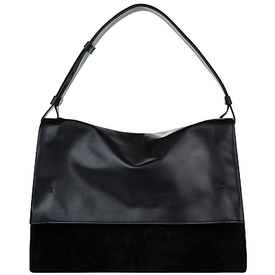 Portland Leather Fold Over Hobo Bag - predominant colour: black; occasions: casual, work, creative work; type of pattern: standard; style: shoulder; length: shoulder (tucks under arm); size: standard; material: leather; pattern: plain; finish: plain; wardrobe: investment; season: a/w 2016