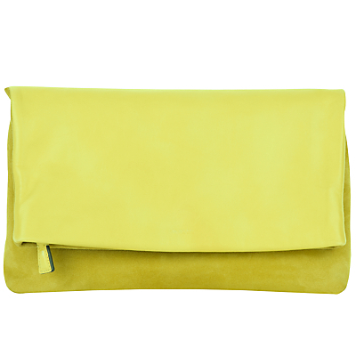 Portland Leather Clutch Bag - predominant colour: yellow; occasions: evening; type of pattern: standard; style: clutch; length: hand carry; size: standard; material: leather; pattern: plain; finish: plain; season: a/w 2016; wardrobe: event