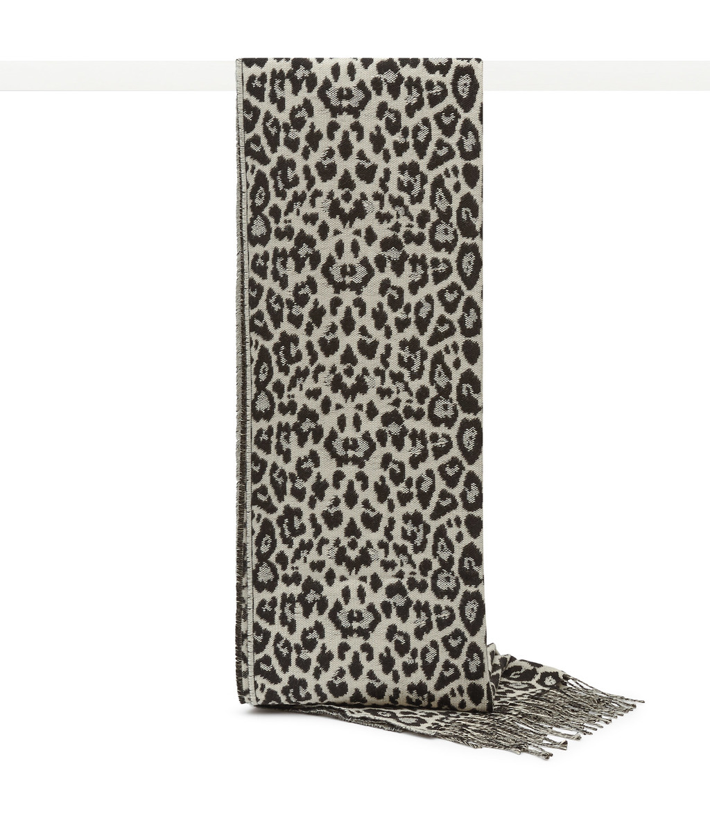 Hazel Womens Leopard Print Scarf In Black - predominant colour: black; occasions: casual; type of pattern: heavy; style: regular; size: standard; material: fabric; pattern: animal print; multicoloured: multicoloured; season: a/w 2016; wardrobe: highlight