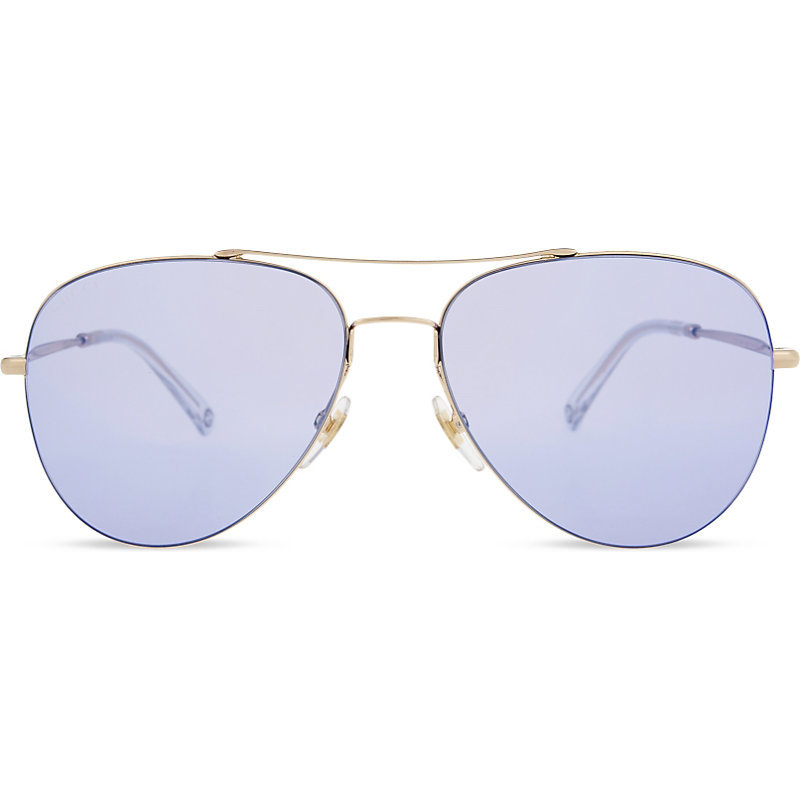 Gg2245 Aviator Sunglasses, Women's, Blue - predominant colour: silver; occasions: casual, holiday; style: aviator; size: large; material: chain/metal; pattern: plain; finish: plain; wardrobe: basic; season: a/w 2016
