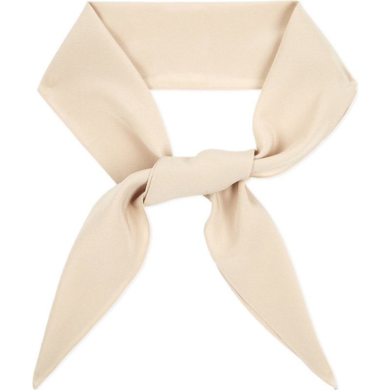 Crepe Silk Scarf, Women's, Powdery Pink - predominant colour: ivory/cream; occasions: casual, creative work; type of pattern: standard; style: skinny; material: silk; pattern: plain; size: small; wardrobe: investment; season: a/w 2016