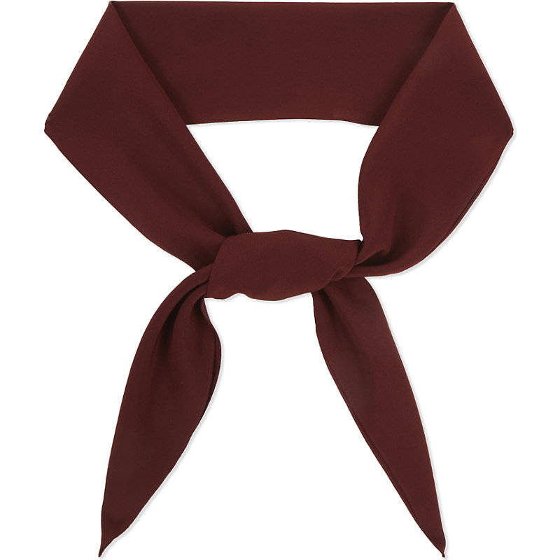 Crepe Silk Scarf, Women's, Maroon - predominant colour: burgundy; occasions: casual; type of pattern: standard; style: skinny; size: standard; material: silk; pattern: plain; season: a/w 2016; wardrobe: highlight