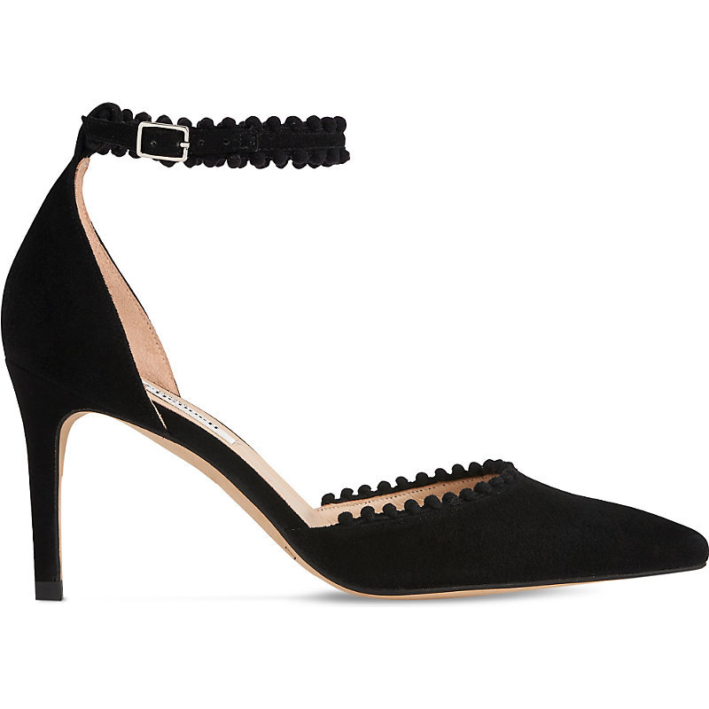 Ellora Pom Pom Suede Courts, Women's, Eur 38.5 / 5.5 Uk Women, Bla Black - predominant colour: black; occasions: evening; material: suede; heel height: high; ankle detail: ankle strap; heel: stiletto; toe: pointed toe; style: courts; finish: plain; pattern: plain; season: a/w 2016; wardrobe: event