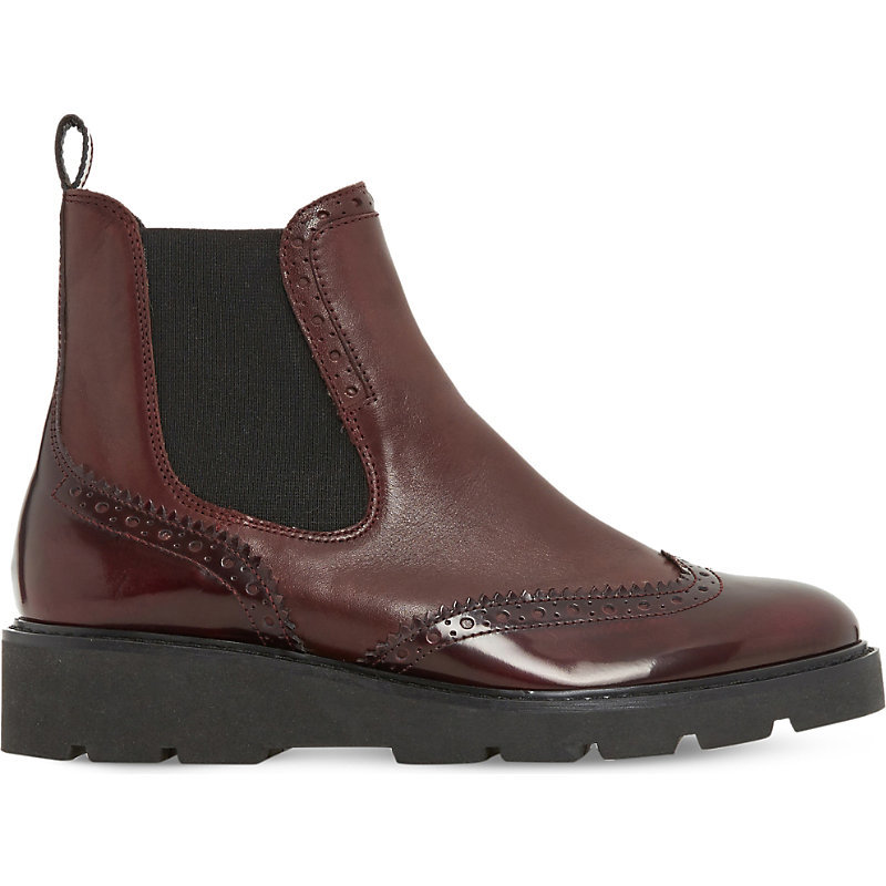 Pacey Brogue Leather Chelsea Boots, Women's, Eur 36 / 3 Uk Women, Burgundy Leather - predominant colour: burgundy; secondary colour: black; occasions: casual, creative work; material: leather; heel height: flat; heel: standard; toe: round toe; boot length: ankle boot; finish: patent; pattern: colourblock; style: chelsea; shoe detail: tread; season: a/w 2016; wardrobe: highlight