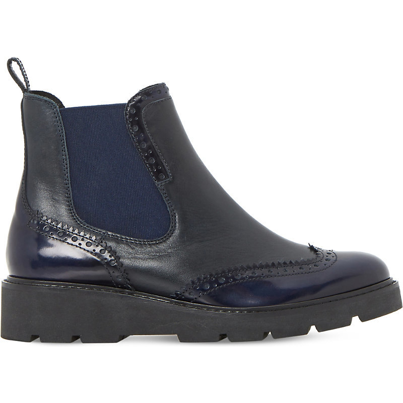 Pacey Brogue Leather Chelsea Boots, Women's, Eur 39 / 6 Uk Women, Navy Leather - predominant colour: black; occasions: casual; material: leather; heel height: flat; heel: block; toe: round toe; boot length: ankle boot; finish: patent; pattern: plain; style: chelsea; shoe detail: platform with tread; wardrobe: basic; season: a/w 2016