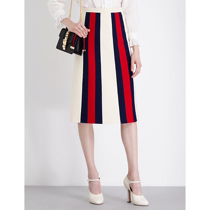 Striped Wool And Silk Blend Midi Skirt, Women's, Ivory/Red/Blue - pattern: striped; fit: tailored/fitted; waist: high rise; predominant colour: true red; secondary colour: navy; length: on the knee; style: a-line; fibres: polyester/polyamide - 100%; texture group: crepes; pattern type: fabric; occasions: creative work; multicoloured: multicoloured; season: a/w 2016; wardrobe: highlight