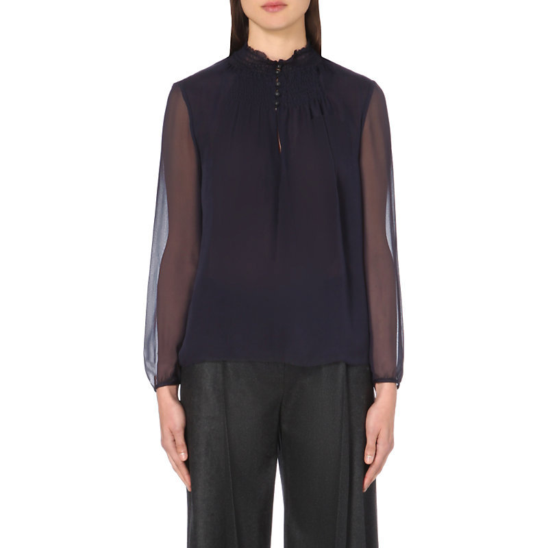Aleni High Neck Silk Top, Women's, Royal Navy - pattern: plain; neckline: high neck; style: blouse; predominant colour: navy; occasions: evening; length: standard; fibres: silk - 100%; fit: body skimming; sleeve length: long sleeve; sleeve style: standard; texture group: sheer fabrics/chiffon/organza etc.; pattern type: fabric; season: a/w 2016; wardrobe: event