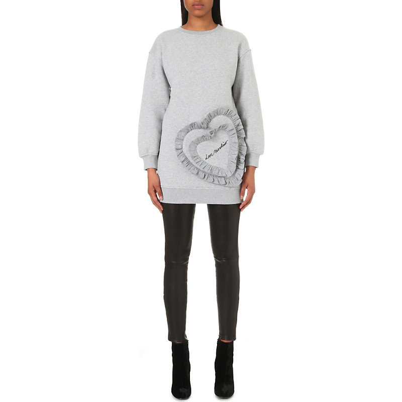 Ruffled Heart Jersey Sweatshirt, Women's, Black - length: below the bottom; style: sweat top; predominant colour: light grey; occasions: casual; fibres: cotton - stretch; fit: body skimming; neckline: crew; sleeve length: long sleeve; sleeve style: standard; pattern type: knitted - other; pattern: patterned/print; texture group: jersey - stretchy/drapey; season: a/w 2016; wardrobe: highlight