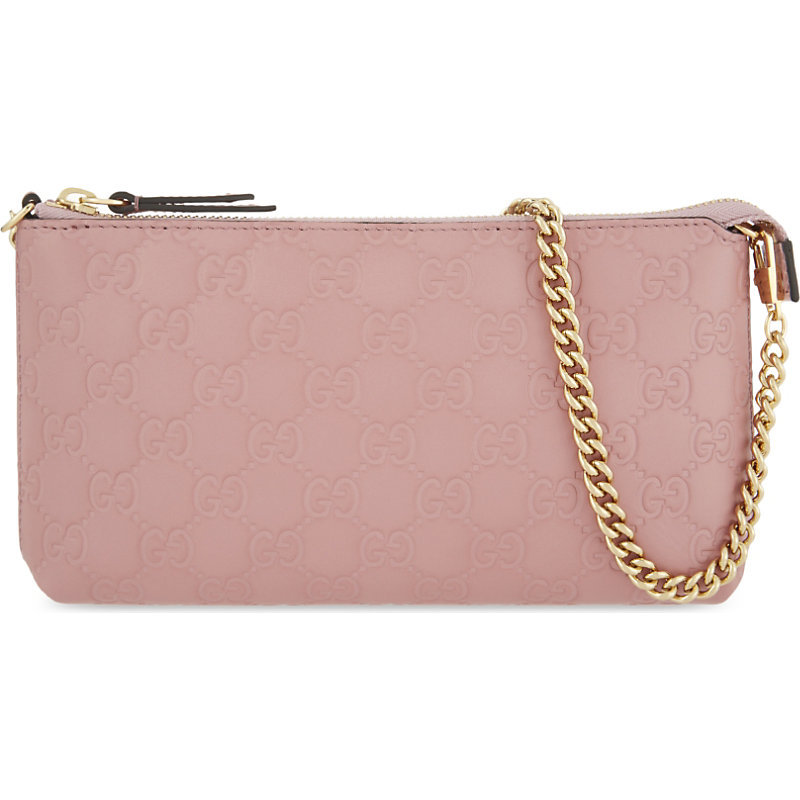 Gg Signature Embossed Leather Clutch, Women's, Rose Baby - predominant colour: blush; occasions: evening; type of pattern: standard; style: clutch; length: shoulder (tucks under arm); size: small; material: leather; finish: plain; pattern: patterned/print; embellishment: chain/metal; season: a/w 2016; wardrobe: event