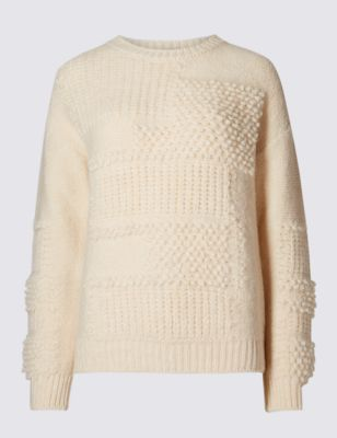 Bobble Patchwork Jumper - pattern: plain; style: standard; predominant colour: blush; occasions: casual; length: standard; fibres: acrylic - mix; fit: slim fit; neckline: crew; sleeve length: long sleeve; sleeve style: standard; texture group: knits/crochet; pattern type: knitted - other; season: a/w 2016