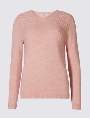 Pretty Link Round Neck Jumper - pattern: plain; style: standard; predominant colour: blush; occasions: casual; length: standard; fibres: cotton - mix; fit: slim fit; neckline: crew; sleeve length: long sleeve; sleeve style: standard; texture group: knits/crochet; pattern type: fabric; wardrobe: basic; season: a/w 2016