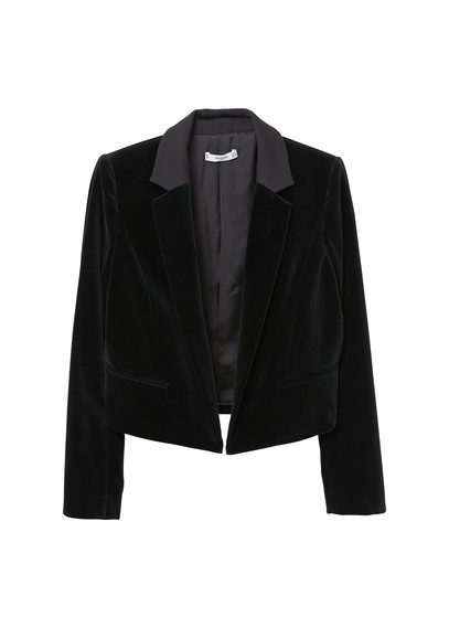 Cropped Velvet Blazer - pattern: plain; style: single breasted tuxedo; collar: standard lapel/rever collar; predominant colour: black; occasions: casual, evening, creative work; length: standard; fit: tailored/fitted; fibres: cotton - stretch; sleeve length: long sleeve; sleeve style: standard; collar break: low/open; pattern type: fabric; texture group: velvet/fabrics with pile; season: a/w 2016; wardrobe: highlight; trends: velvet