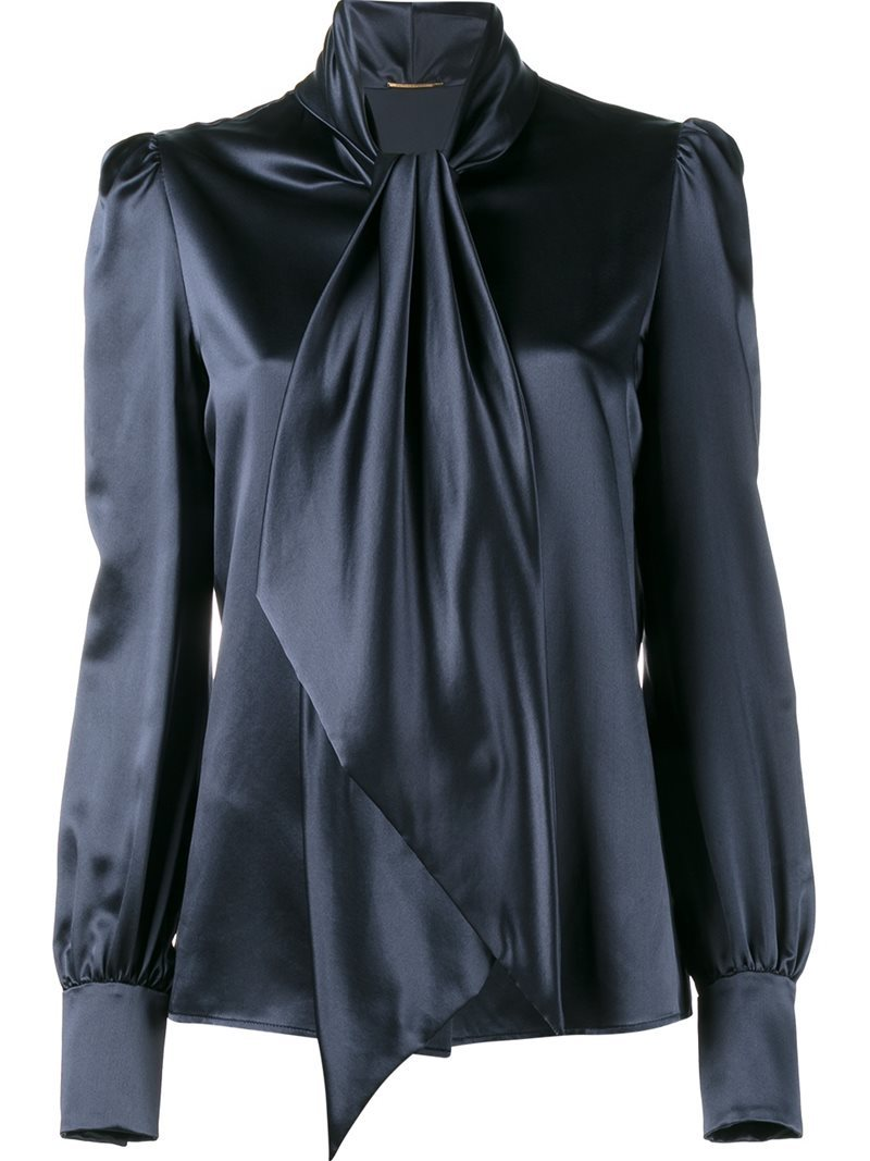 Neck Tie Blouse, Women's, Blue - pattern: plain; neckline: pussy bow; style: blouse; predominant colour: navy; occasions: evening, creative work; length: standard; fibres: silk - 100%; fit: body skimming; sleeve length: long sleeve; sleeve style: standard; texture group: silky - light; pattern type: fabric; season: a/w 2016; wardrobe: highlight