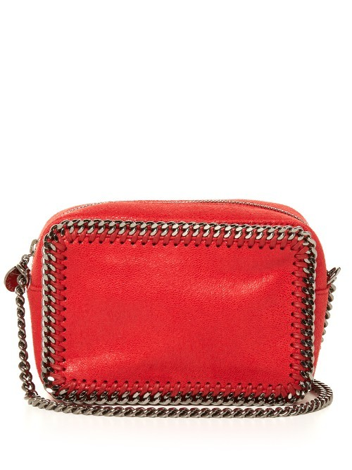 Falabella Camera Faux Leather Cross Body Bag - predominant colour: true red; secondary colour: silver; occasions: casual; type of pattern: standard; style: messenger; length: across body/long; size: small; material: faux leather; pattern: plain; finish: plain; embellishment: chain/metal; season: a/w 2016; wardrobe: highlight