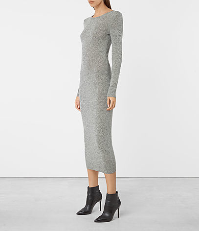 Sade Dress - length: calf length; fit: tight; pattern: plain; style: bodycon; predominant colour: light grey; occasions: casual; fibres: wool - mix; neckline: crew; sleeve length: long sleeve; sleeve style: standard; texture group: knits/crochet; pattern type: fabric; wardrobe: basic; season: a/w 2016
