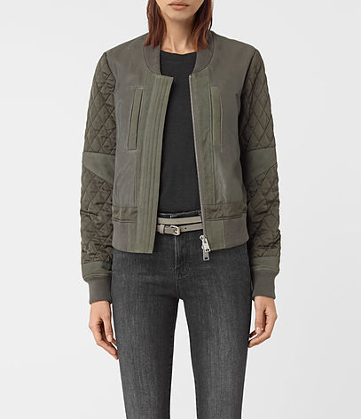 Darnley Leather Bomber Jacket - pattern: plain; collar: round collar/collarless; fit: slim fit; style: bomber; predominant colour: khaki; occasions: casual; length: standard; fibres: leather - 100%; sleeve length: long sleeve; sleeve style: standard; collar break: high; pattern type: fabric; texture group: woven light midweight; embellishment: quilted; season: a/w 2016; wardrobe: highlight
