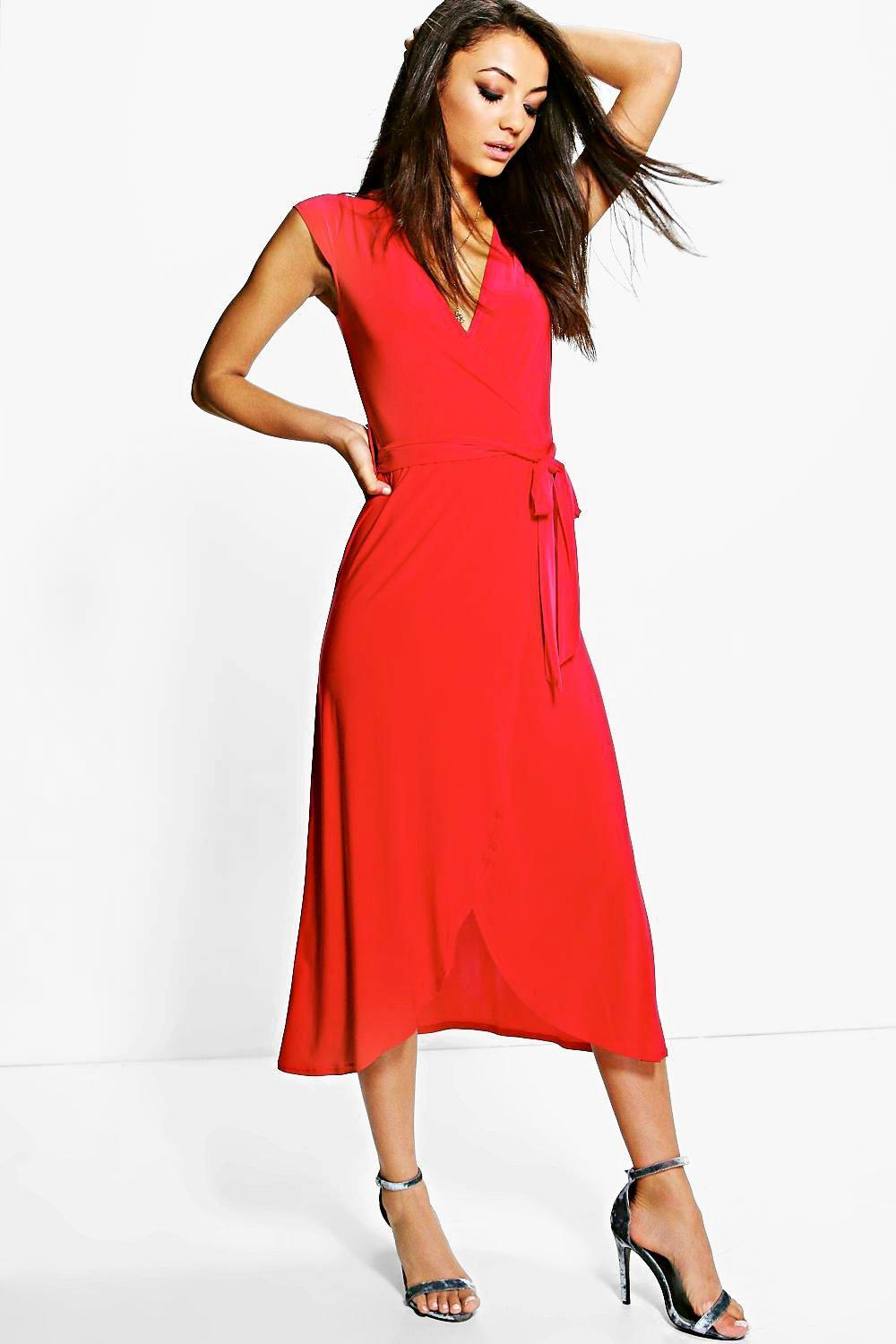 Shamira Slinky Wrap And Tie Midaxi Dress Red - style: faux wrap/wrap; length: calf length; neckline: v-neck; sleeve style: capped; pattern: plain; waist detail: belted waist/tie at waist/drawstring; predominant colour: true red; occasions: evening; fit: body skimming; fibres: polyester/polyamide - 100%; sleeve length: short sleeve; pattern type: fabric; texture group: jersey - stretchy/drapey; season: a/w 2016; wardrobe: event