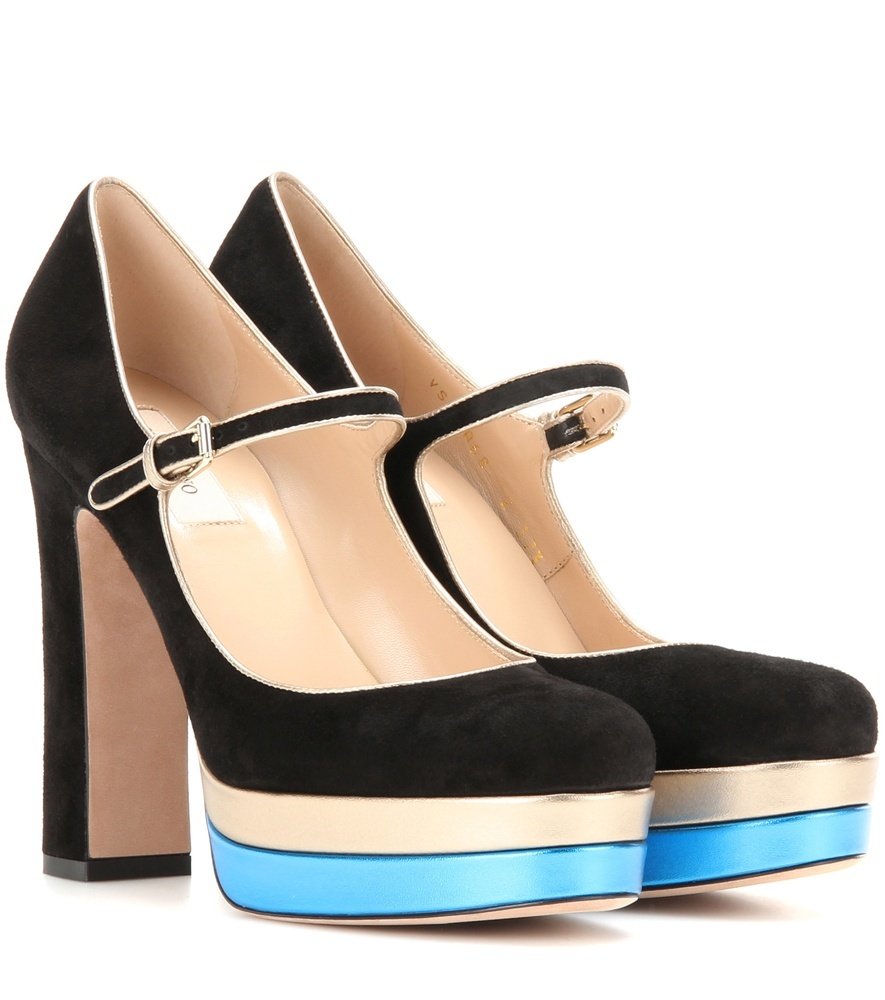 Suede And Metallic Leather Platform Pumps - secondary colour: turquoise; predominant colour: black; occasions: evening; material: suede; ankle detail: ankle strap; heel: block; toe: round toe; style: mary janes; finish: plain; pattern: colourblock; heel height: very high; shoe detail: platform; season: a/w 2016; wardrobe: event