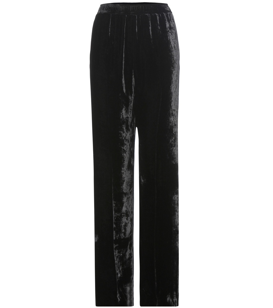 Camilla Velvet Trousers - length: standard; pattern: plain; waist: mid/regular rise; predominant colour: black; occasions: evening; fit: wide leg; pattern type: fabric; texture group: velvet/fabrics with pile; style: standard; fibres: viscose/rayon - mix; season: a/w 2016; wardrobe: event