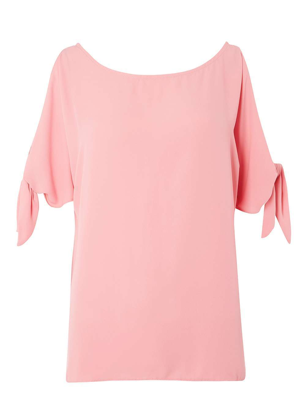 Womens Pink Tie Sleeve Blouse Pink - neckline: round neck; pattern: plain; style: blouse; predominant colour: blush; occasions: casual; length: standard; fibres: polyester/polyamide - 100%; fit: body skimming; sleeve length: short sleeve; sleeve style: standard; pattern type: fabric; texture group: other - light to midweight; wardrobe: basic; season: a/w 2016