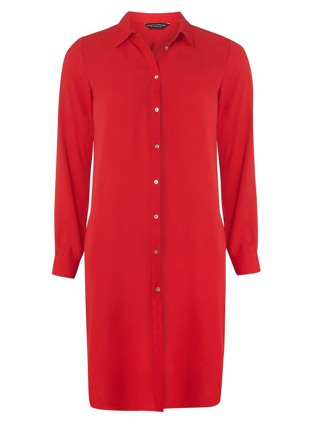 Womens Red Maxi Split Shirt Red - neckline: shirt collar/peter pan/zip with opening; pattern: plain; style: shirt; predominant colour: true red; occasions: casual; fibres: polyester/polyamide - 100%; fit: body skimming; length: mid thigh; sleeve length: long sleeve; sleeve style: standard; pattern type: fabric; texture group: other - light to midweight; season: a/w 2016; wardrobe: highlight