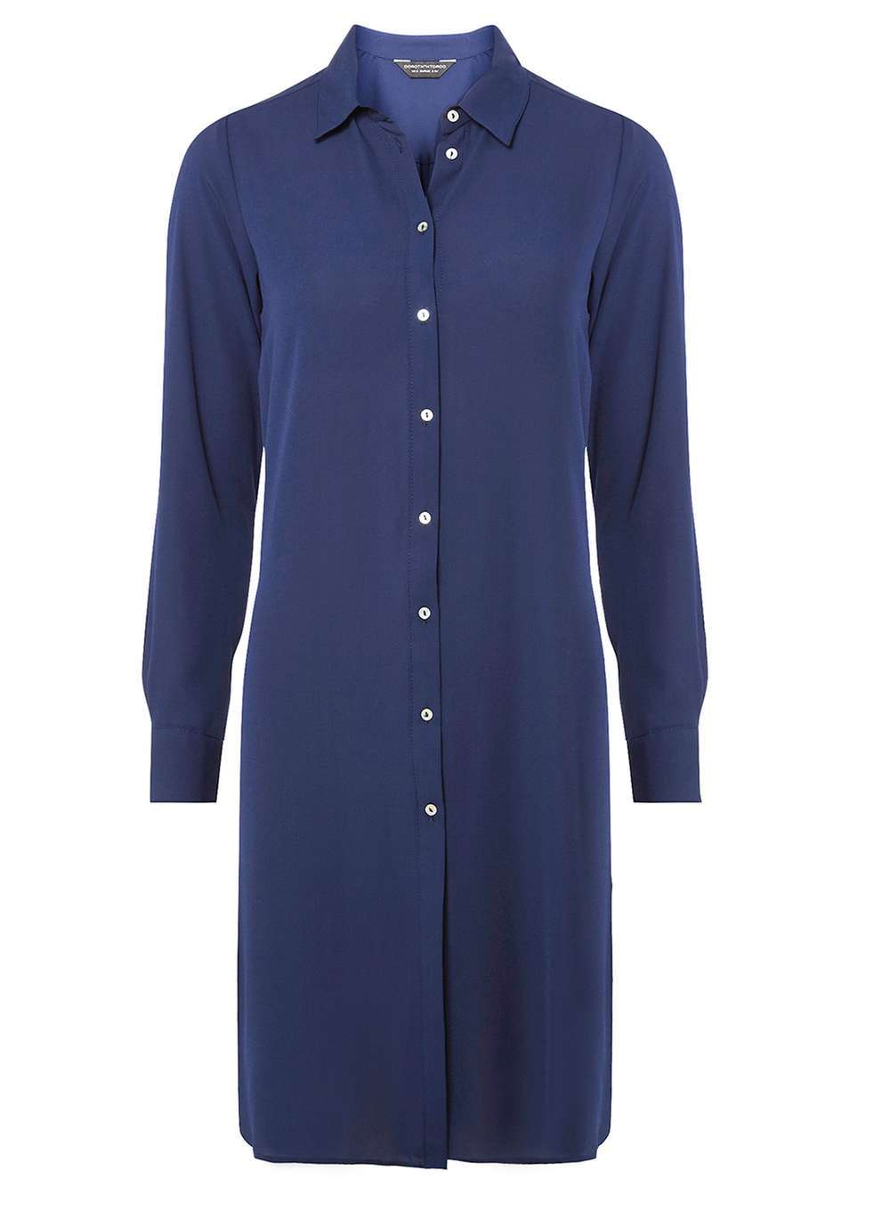 Womens Navy Maxi Split Shirt Blue - neckline: shirt collar/peter pan/zip with opening; pattern: plain; style: shirt; predominant colour: navy; occasions: casual; fibres: polyester/polyamide - 100%; fit: body skimming; length: mid thigh; sleeve length: long sleeve; sleeve style: standard; pattern type: fabric; texture group: other - light to midweight; wardrobe: basic; season: a/w 2016