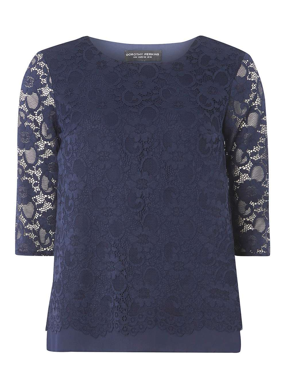 Womens Navy Blue Lace Zip Top Blue - predominant colour: navy; occasions: evening; length: standard; style: top; fit: body skimming; neckline: crew; sleeve length: half sleeve; sleeve style: standard; texture group: lace; pattern type: fabric; pattern: patterned/print; fibres: nylon - stretch; season: a/w 2016; wardrobe: event