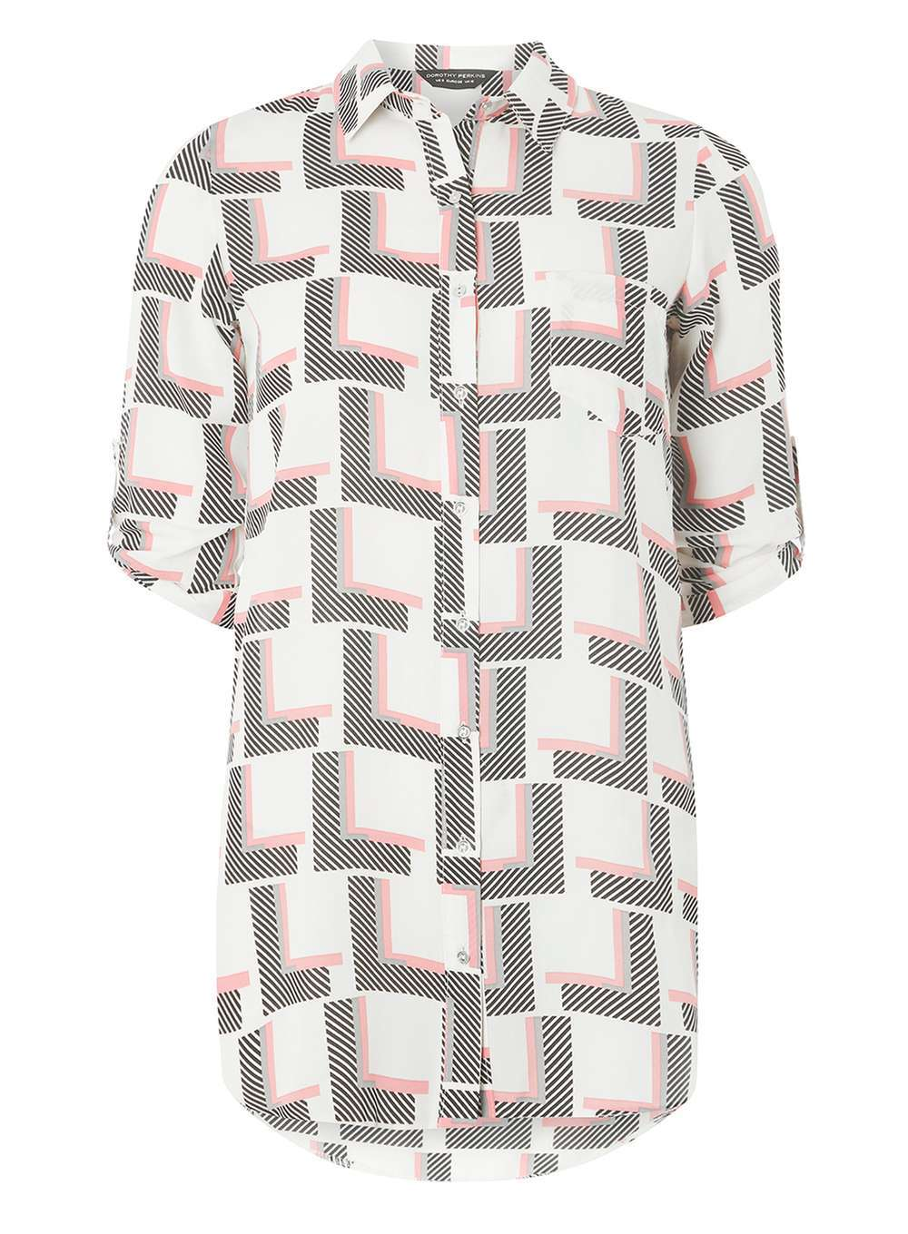 Womens Ivory Multi Geo Longline Shirt Multi Colour - neckline: shirt collar/peter pan/zip with opening; length: below the bottom; style: shirt; predominant colour: white; secondary colour: mid grey; occasions: casual; fibres: polyester/polyamide - 100%; fit: body skimming; sleeve length: short sleeve; sleeve style: standard; pattern type: fabric; pattern: patterned/print; texture group: other - light to midweight; pattern size: big & busy (top); multicoloured: multicoloured; season: a/w 2016; wardrobe: highlight