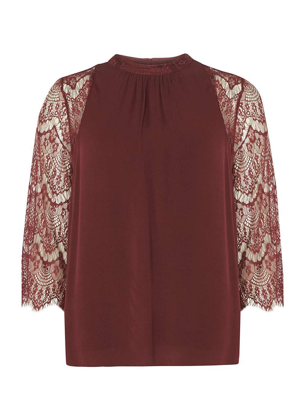 Womens **Vila Wine Lace Sleeve Blouse Red - pattern: plain; neckline: high neck; bust detail: sheer at bust; style: blouse; predominant colour: burgundy; occasions: evening; length: standard; fibres: viscose/rayon - 100%; fit: body skimming; sleeve length: 3/4 length; sleeve style: standard; texture group: sheer fabrics/chiffon/organza etc.; pattern type: fabric; embellishment: lace; season: a/w 2016