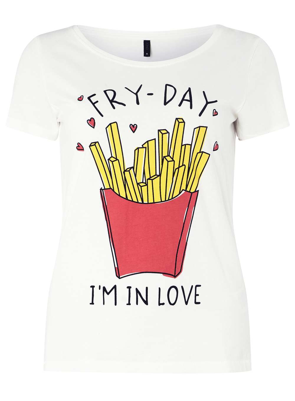 Womens **Only White 'fryday' T Shirt White - neckline: round neck; style: t-shirt; predominant colour: white; secondary colour: true red; occasions: casual; length: standard; fibres: polyester/polyamide - 100%; fit: body skimming; sleeve length: short sleeve; sleeve style: standard; pattern type: fabric; texture group: jersey - stretchy/drapey; pattern: graphic/slogan; multicoloured: multicoloured; season: a/w 2016; wardrobe: highlight; embellishment: contrast fabric; embellishment location: bust