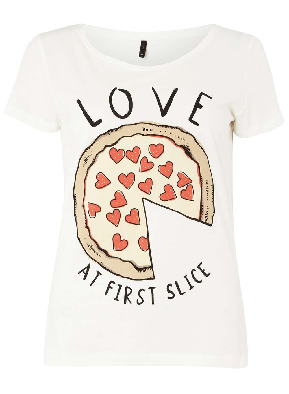 Womens **Only White 'love Pizza' T Shirt White - neckline: round neck; style: t-shirt; predominant colour: white; secondary colour: black; occasions: casual; length: standard; fibres: polyester/polyamide - 100%; fit: body skimming; sleeve length: short sleeve; sleeve style: standard; pattern type: fabric; texture group: jersey - stretchy/drapey; pattern: graphic/slogan; multicoloured: multicoloured; season: a/w 2016; wardrobe: highlight