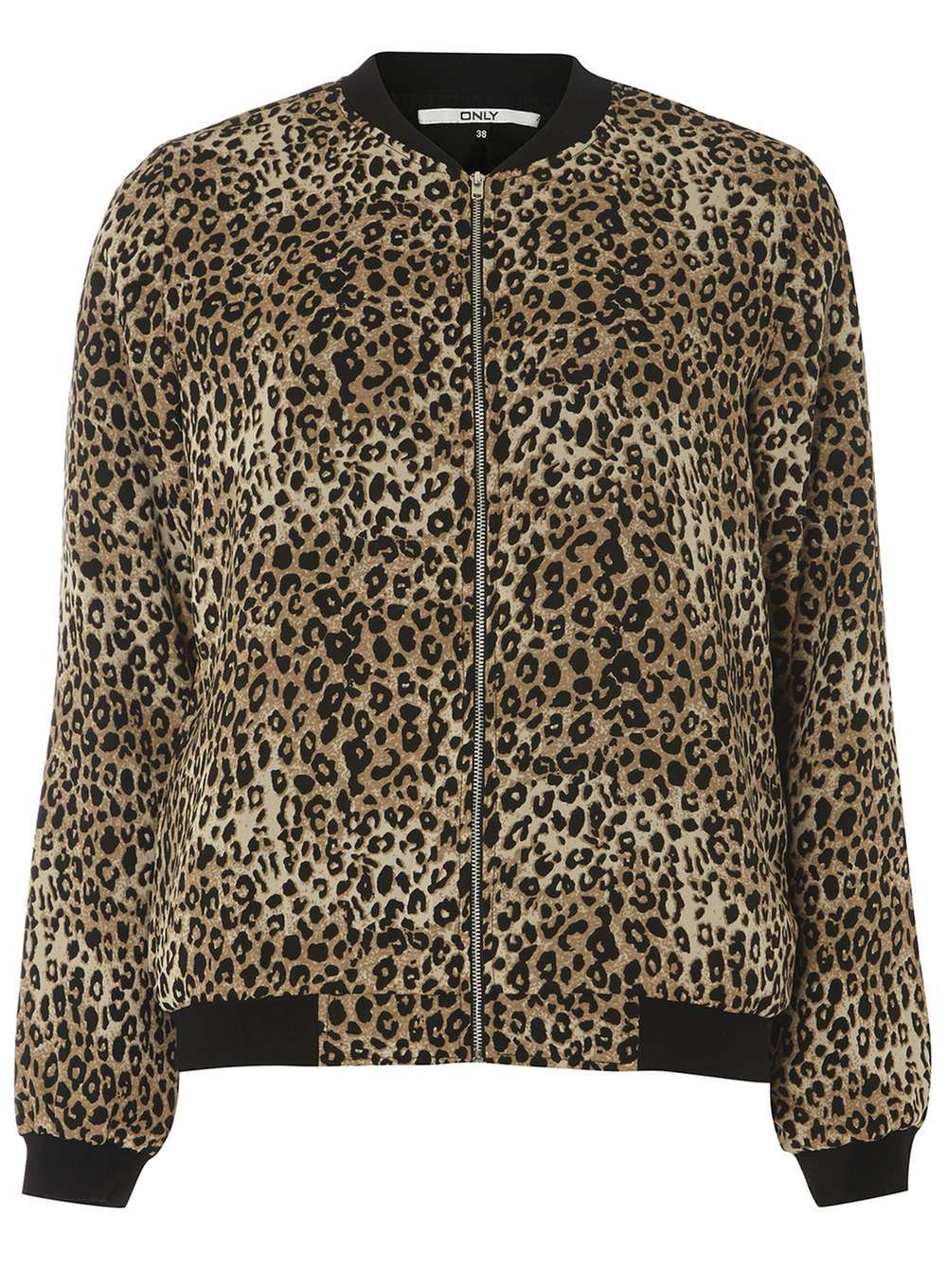 Womens **Only Lepoard Bomber Jacket Leopard - collar: round collar/collarless; fit: slim fit; style: bomber; predominant colour: camel; secondary colour: black; occasions: casual; length: standard; fibres: polyester/polyamide - 100%; sleeve length: long sleeve; sleeve style: standard; collar break: high; pattern type: fabric; pattern: animal print; texture group: woven light midweight; multicoloured: multicoloured; season: a/w 2016