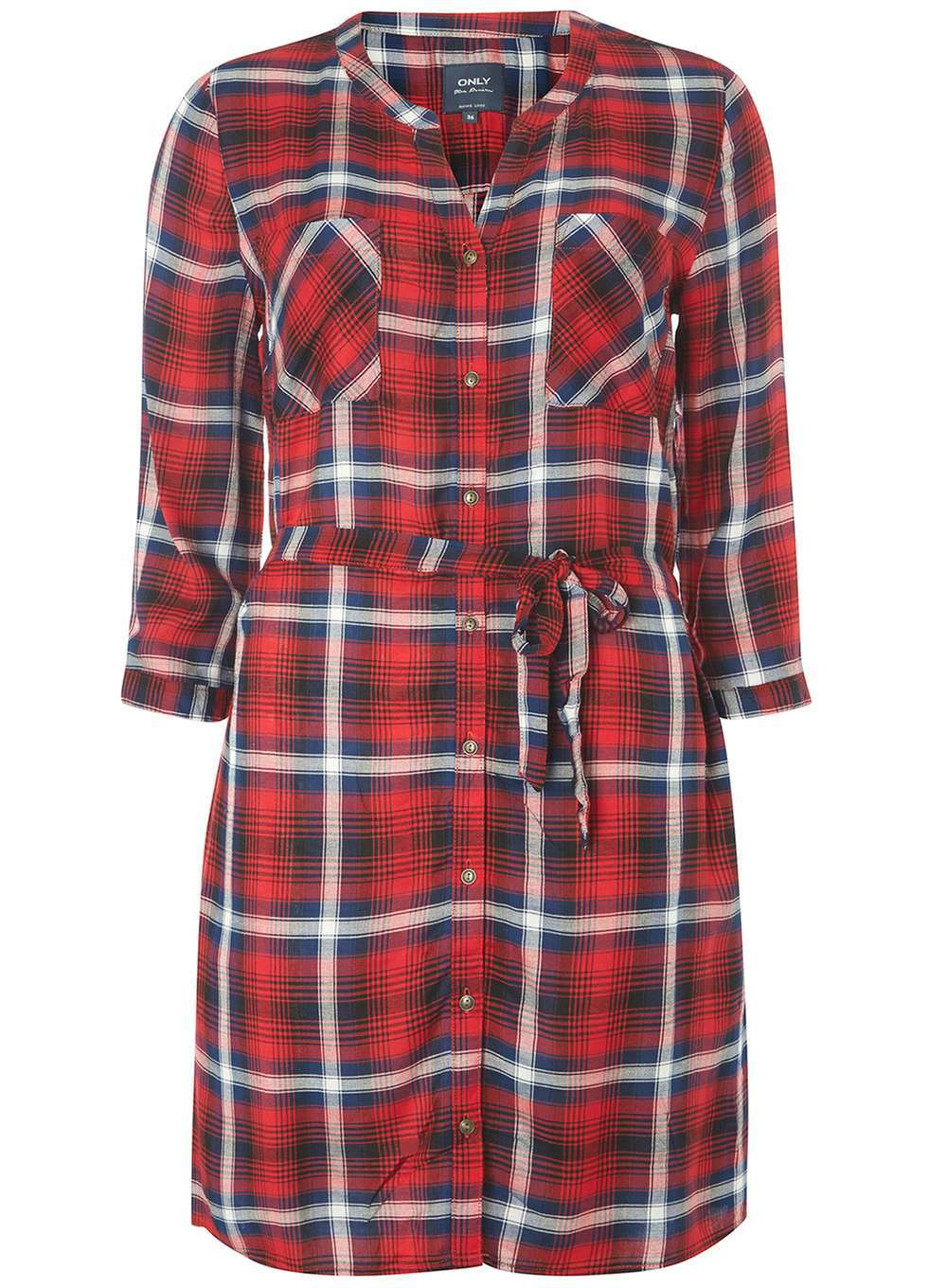 Womens **Only Red Check Shirt Dress Red - style: shift; length: mid thigh; pattern: checked/gingham; waist detail: belted waist/tie at waist/drawstring; secondary colour: white; predominant colour: true red; occasions: casual; fit: body skimming; neckline: collarstand & mandarin with v-neck; fibres: polyester/polyamide - 100%; sleeve length: 3/4 length; sleeve style: standard; pattern type: fabric; texture group: other - light to midweight; multicoloured: multicoloured; season: a/w 2016; wardrobe: highlight