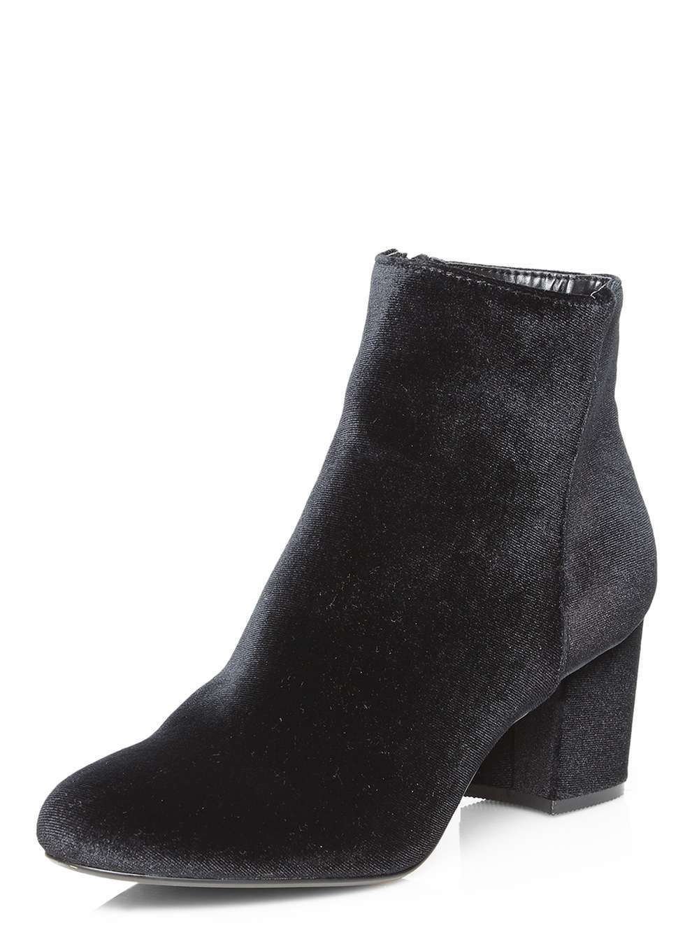 Womens Black Velvet 'a Lister' Boots Black - predominant colour: black; occasions: casual; material: velvet; heel height: mid; heel: block; toe: round toe; boot length: ankle boot; style: standard; finish: plain; pattern: plain; season: a/w 2016; wardrobe: highlight