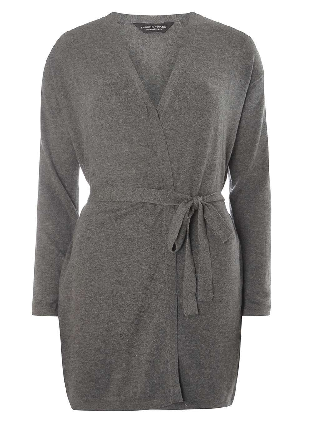 Womens Charcoal Tie Waist Cardigan Grey - neckline: v-neck; pattern: plain; style: wrap; length: below the bottom; predominant colour: mid grey; occasions: casual, work, creative work; fibres: acrylic - mix; fit: slim fit; waist detail: belted waist/tie at waist/drawstring; sleeve length: long sleeve; sleeve style: standard; texture group: knits/crochet; pattern type: knitted - fine stitch; wardrobe: basic; season: a/w 2016