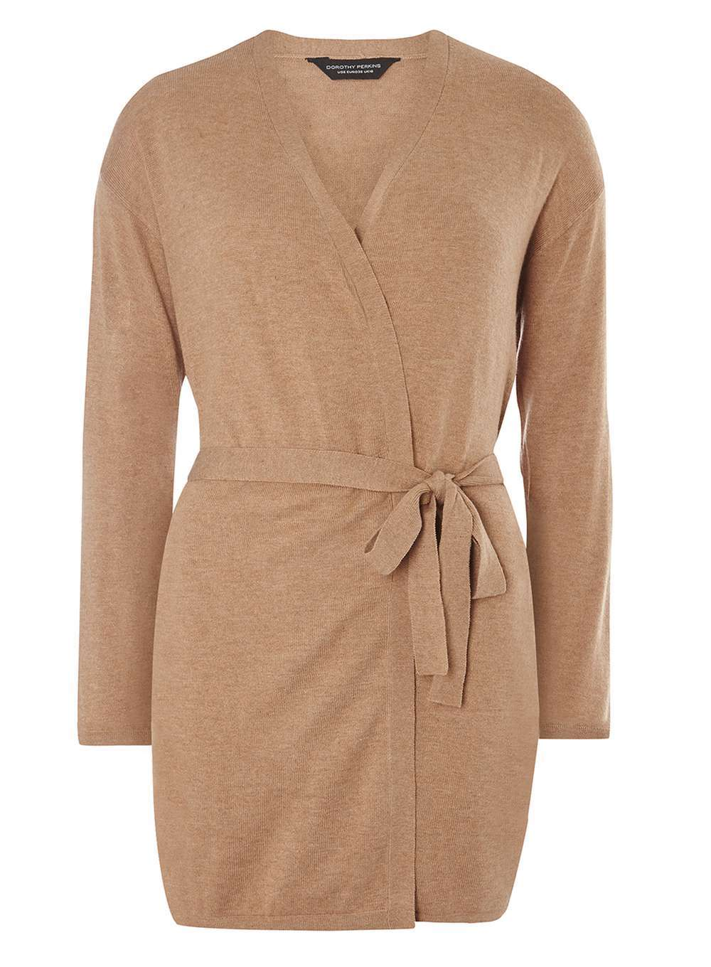 Womens Camel Tie Waist Cardigan Beige - neckline: v-neck; pattern: plain; style: wrap; predominant colour: camel; occasions: casual, work, creative work; fibres: acrylic - mix; fit: standard fit; length: mid thigh; waist detail: belted waist/tie at waist/drawstring; sleeve length: long sleeve; sleeve style: standard; texture group: knits/crochet; pattern type: knitted - fine stitch; season: a/w 2016