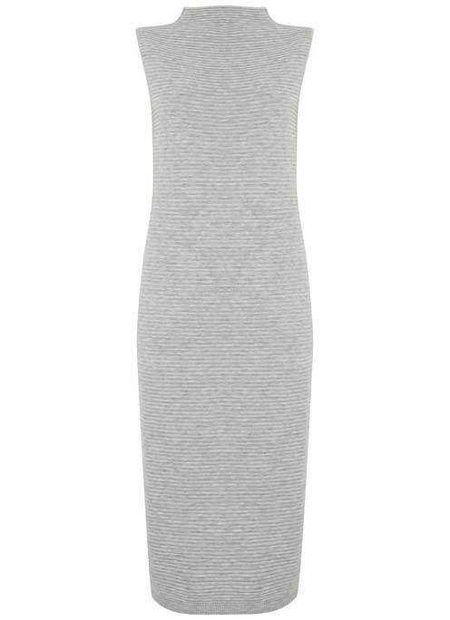 Silver Grey Knit Tube Dress - length: below the knee; fit: tight; pattern: plain; sleeve style: sleeveless; neckline: high neck; style: bodycon; predominant colour: light grey; occasions: evening; fibres: polyester/polyamide - mix; sleeve length: sleeveless; texture group: jersey - clingy; pattern type: fabric; season: a/w 2016; wardrobe: event