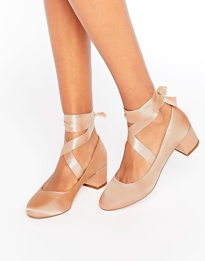 So True Lace Up Heels Nude Satin - predominant colour: blush; occasions: evening, creative work; material: satin; heel height: mid; ankle detail: ankle tie; heel: block; toe: round toe; style: courts; finish: plain; pattern: plain; wardrobe: investment; season: a/w 2016