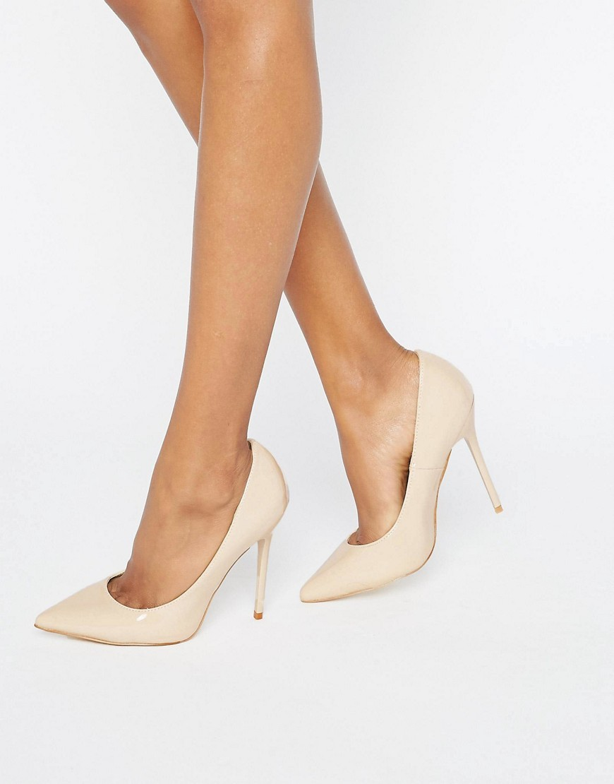 Pointed Heeled Court Shoe Nude - predominant colour: ivory/cream; occasions: evening; material: faux leather; heel height: high; heel: stiletto; toe: pointed toe; style: courts; finish: plain; pattern: plain; season: a/w 2016