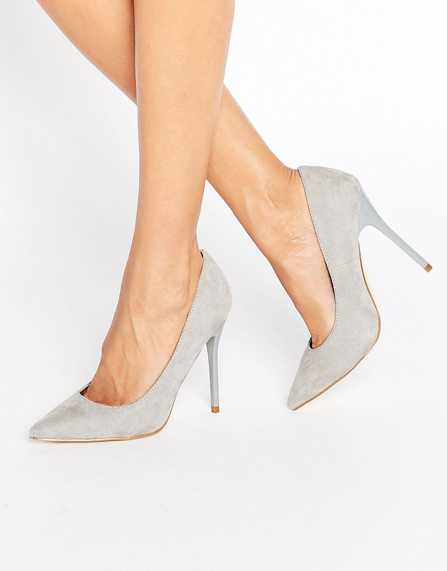 Point Toe Court Shoe Grey - predominant colour: light grey; occasions: evening; material: fabric; heel: stiletto; toe: pointed toe; style: courts; finish: plain; pattern: plain; heel height: very high; season: a/w 2016; wardrobe: event