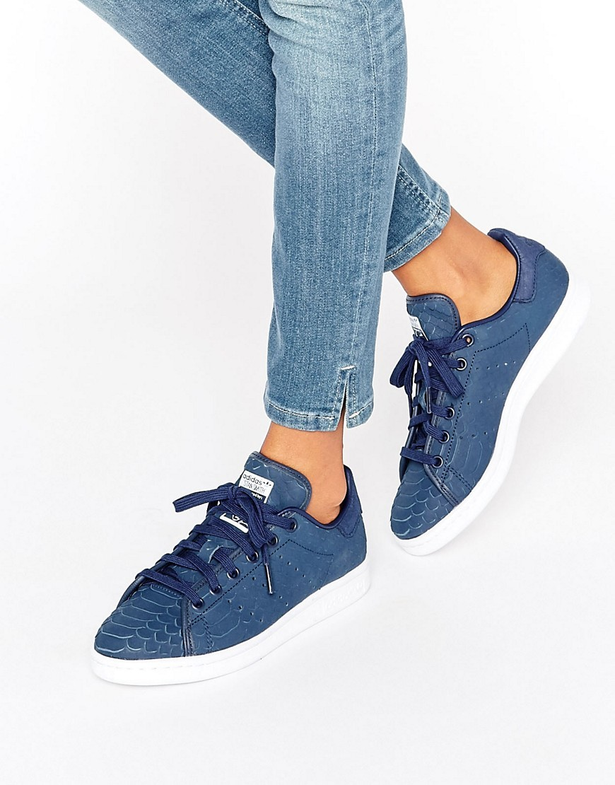 Originals Navy Embossed Snake Suede Stan Smith Unisex Trainers Collegiate Navy - predominant colour: navy; occasions: casual; material: suede; heel height: flat; toe: round toe; style: trainers; finish: plain; pattern: plain; wardrobe: basic; season: a/w 2016