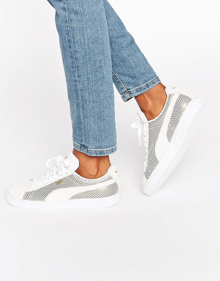 Classic Suede Basket Trainers In White And Gold Metallic Peacoat White - predominant colour: ivory/cream; secondary colour: silver; occasions: casual; material: suede; heel height: flat; toe: round toe; style: trainers; finish: plain; pattern: plain; multicoloured: multicoloured; wardrobe: basic; season: a/w 2016