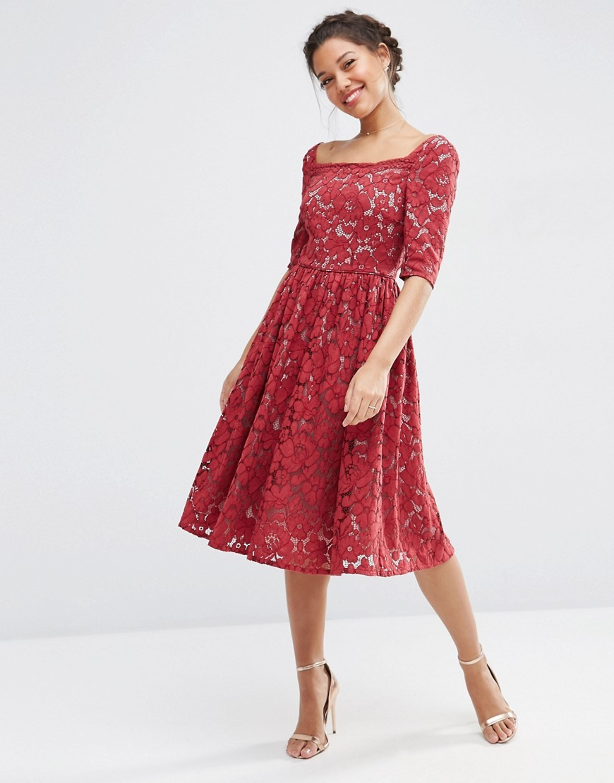 Wedding Lace Prom Dress Wine - length: calf length; pattern: plain; predominant colour: true red; occasions: evening; fit: fitted at waist & bust; style: fit & flare; neckline: scoop; fibres: cotton - mix; sleeve length: half sleeve; sleeve style: standard; texture group: lace; pattern type: fabric; season: a/w 2016; wardrobe: event