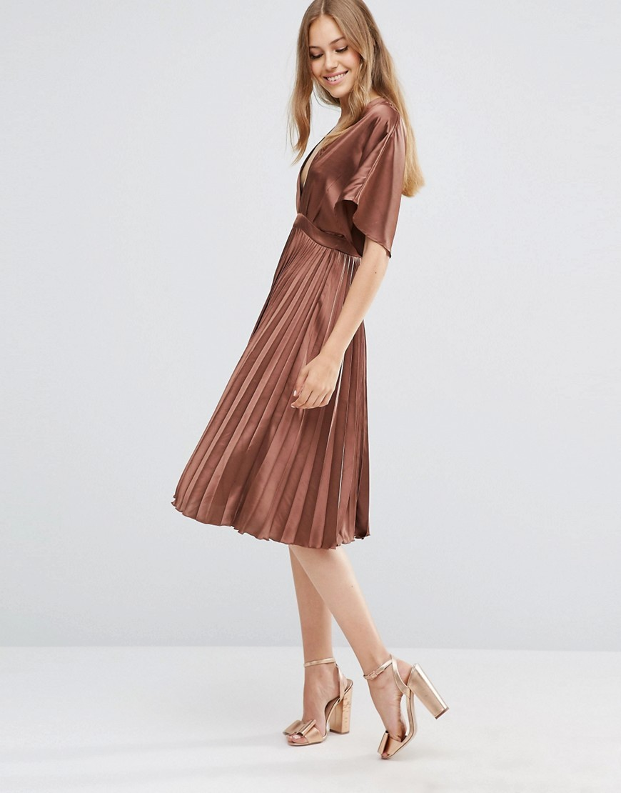 Pleated Satin Kaftan Midi Dress Brown - length: below the knee; neckline: low v-neck; fit: empire; pattern: plain; style: kaftan; waist detail: belted waist/tie at waist/drawstring; predominant colour: tan; occasions: evening; fibres: polyester/polyamide - 100%; sleeve length: half sleeve; sleeve style: standard; texture group: structured shiny - satin/tafetta/silk etc.; pattern type: fabric; season: a/w 2016